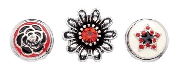 Boutons-pression pour bijoux - 3 pces, rouge-argen