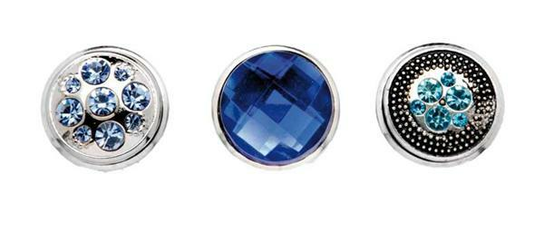 Boutons-pression pour bijoux - 3 pces, bleu-argent
