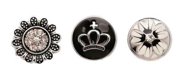 Boutons-pression pour bijoux - 3 pces, noir-argent