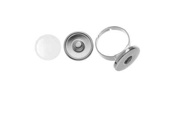 (Vinger)ring met drukknoop om te versieren, 1 stuk