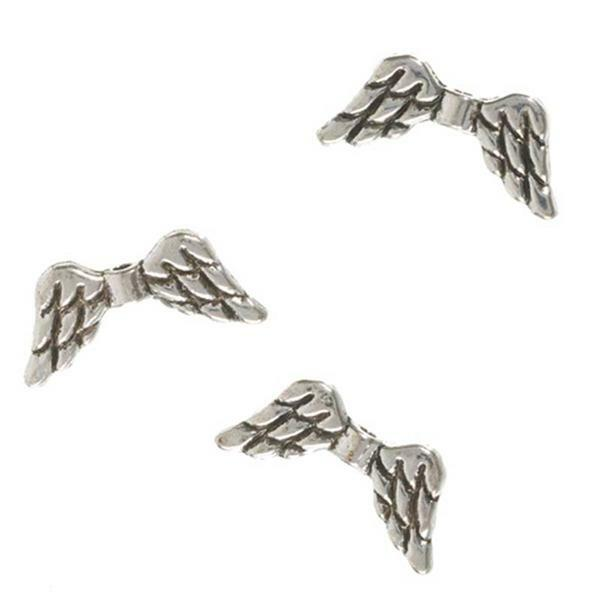 Perles ailes - 10 pces, argent