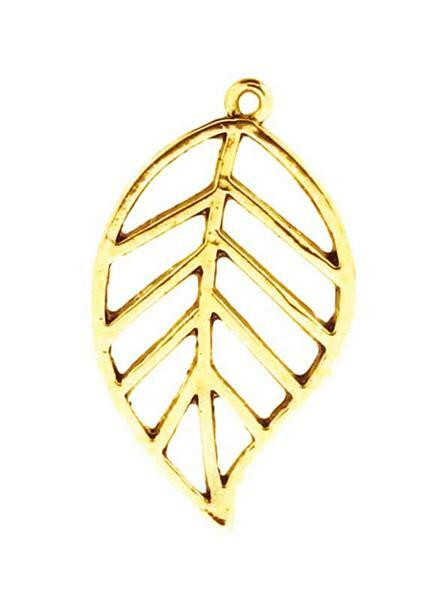 Pendentif feuille - 35 x 20 mm, or