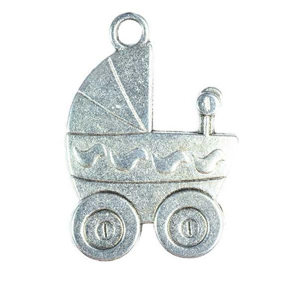 Hanger poppenwagen - 30 x 20 mm, zilver