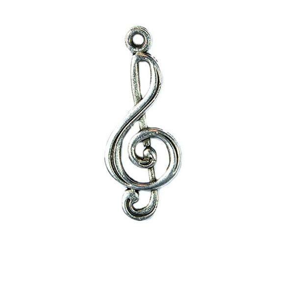 Hanger muzieknoot - 25 mm, zilver