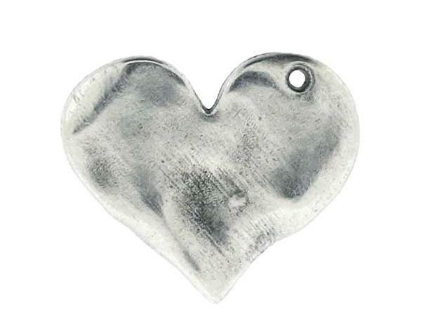 Hanger hart - 23 mm, zilver