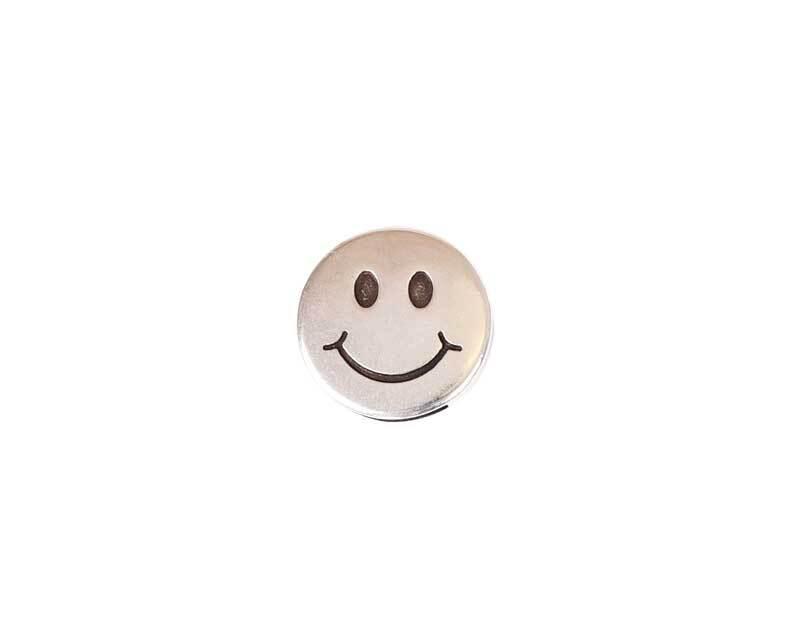 Tussendeel Smiley - 17 mm, zilverkleurig