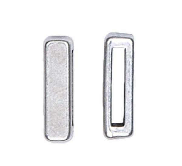 Tussendeel hoekig - 17 x 4 mm, zilver