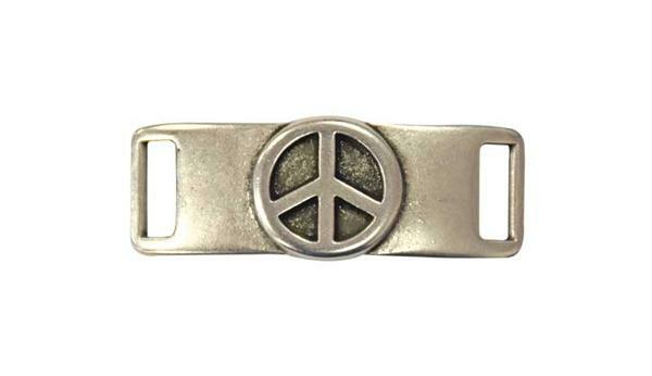 Metalen tussendeel Peace - 4 x 1 cm, oud platina