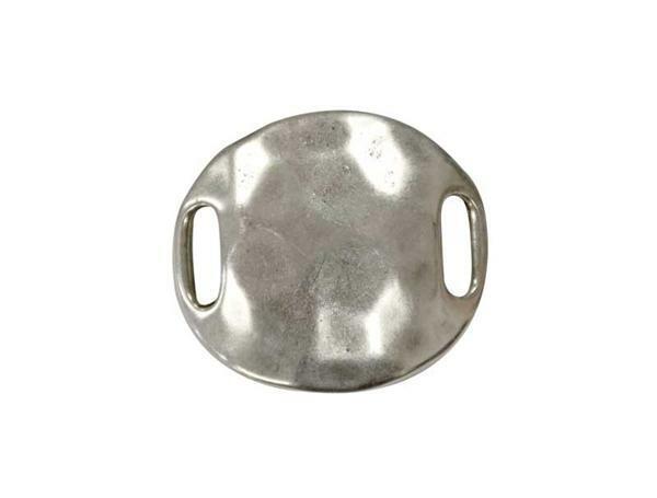 Metalen tussendeel rond - groot, 3 cm, oud platina
