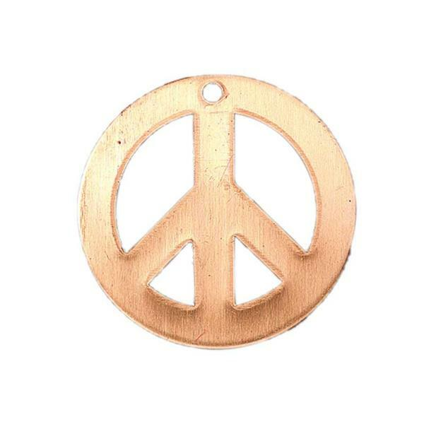 Pendentif cuivre - Peace and Love, Ø 26 mm