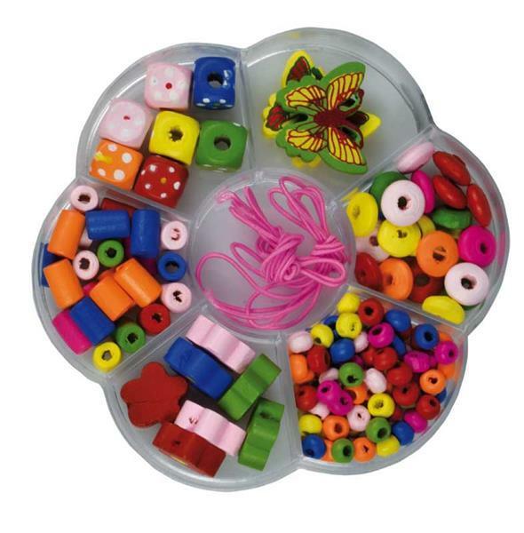 Houten kralen in doos - kleurrijk, ca. 140 stuks