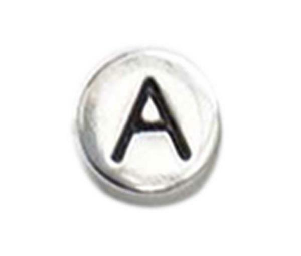 Perle métal alphabet - vieux platine, A