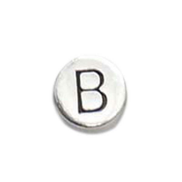 Perle métal alphabet - vieux platine, B