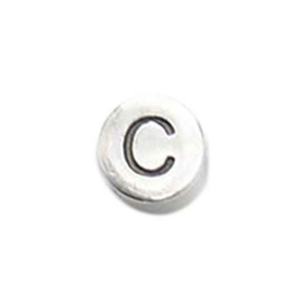 Metalen letterkraal - oud platina, C