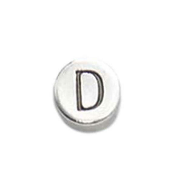 Metalen letterkraal - oud platina, D