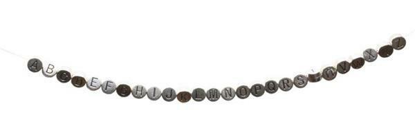 Metalen letterkraal - oud platina, E