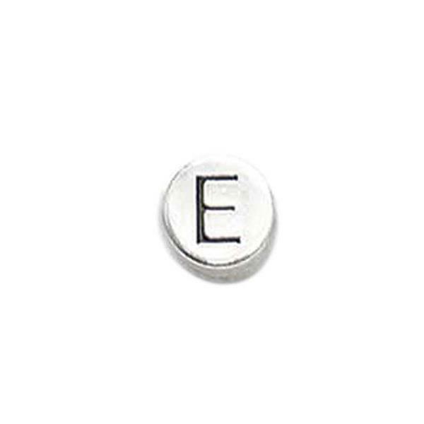 Perle métal alphabet - vieux platine, E