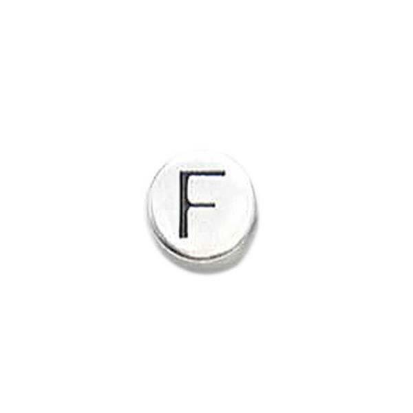Perle métal alphabet - vieux platine, F