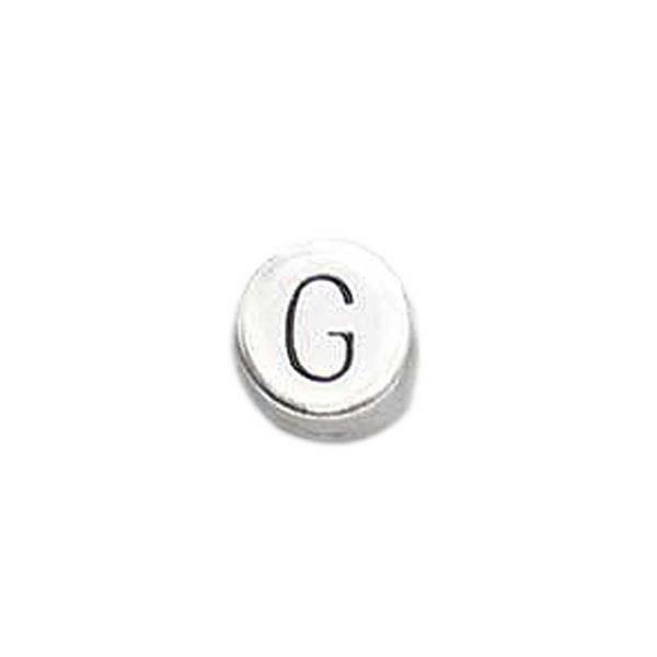Metallperle Buchstabe, altplatin, G