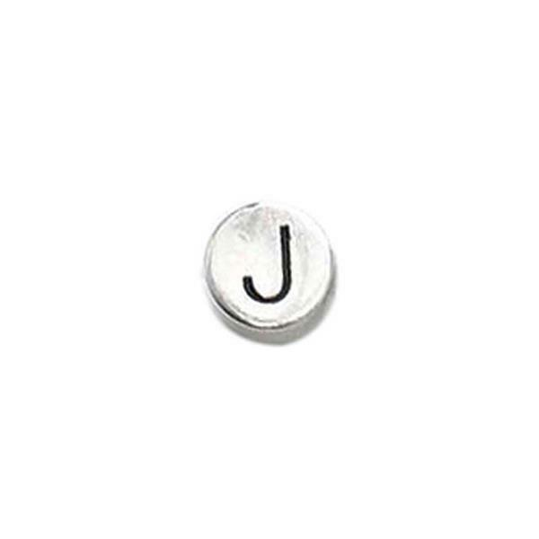 Metalen letterkraal - oud platina, J