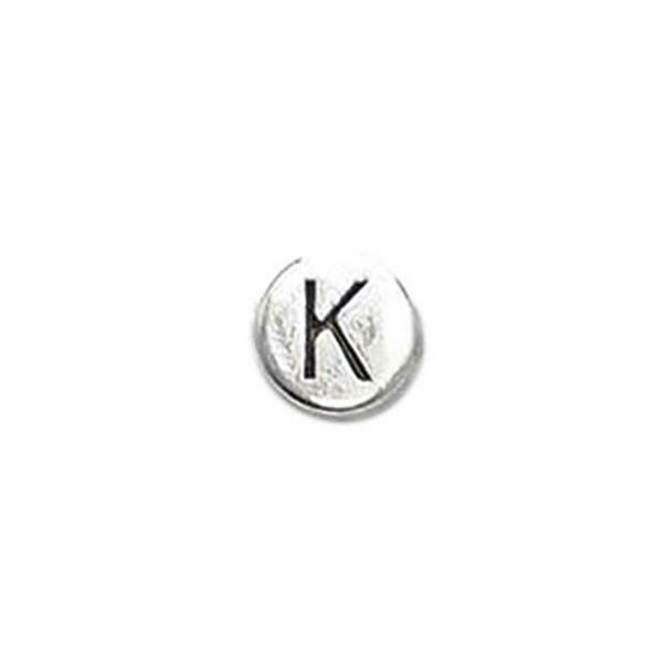 Metalen letterkraal - oud platina, K
