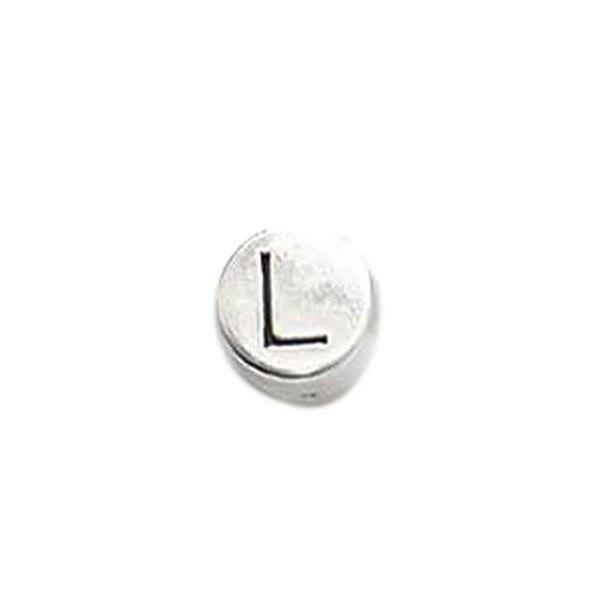 Metalen letterkraal - oud platina, L