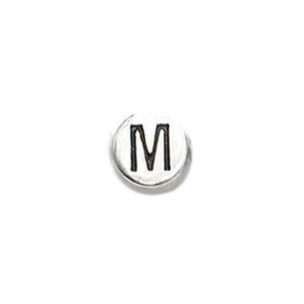 Metalen letterkraal - oud platina, M