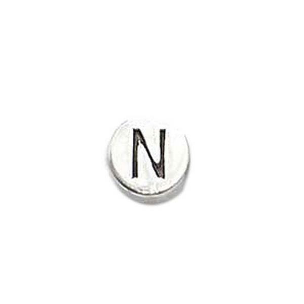 Metalen letterkraal - oud platina, N