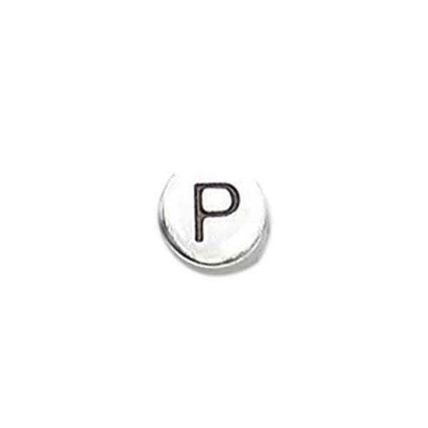 Metalen letterkraal - oud platina, P