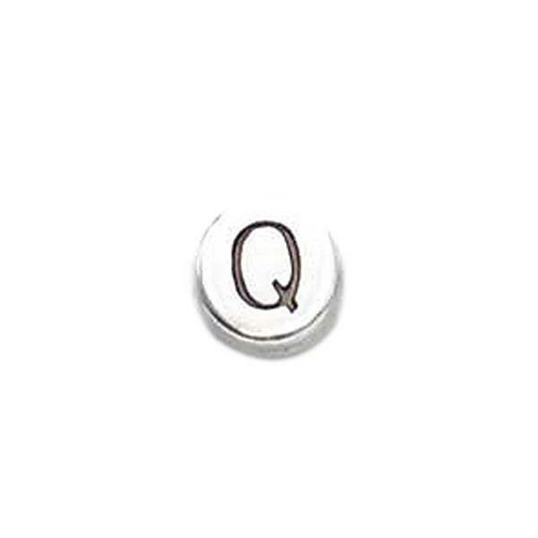 Metalen letterkraal - oud platina, Q