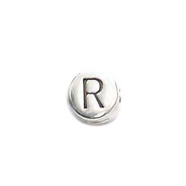 Metalen letterkraal - oud platina, R