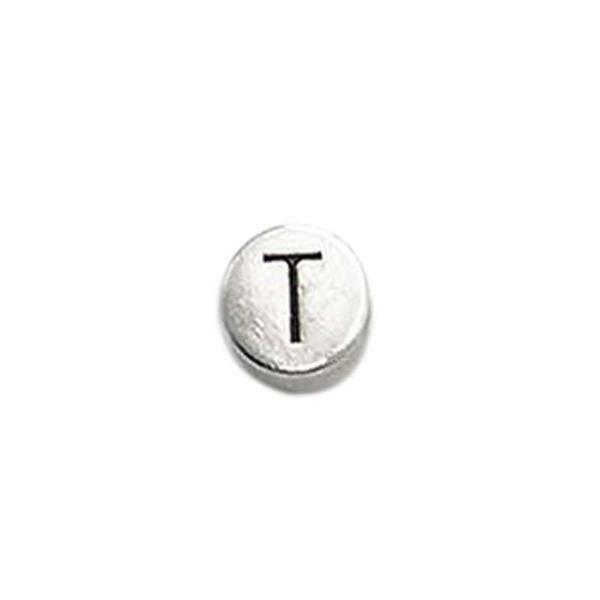 Metalen letterkraal - oud platina, T