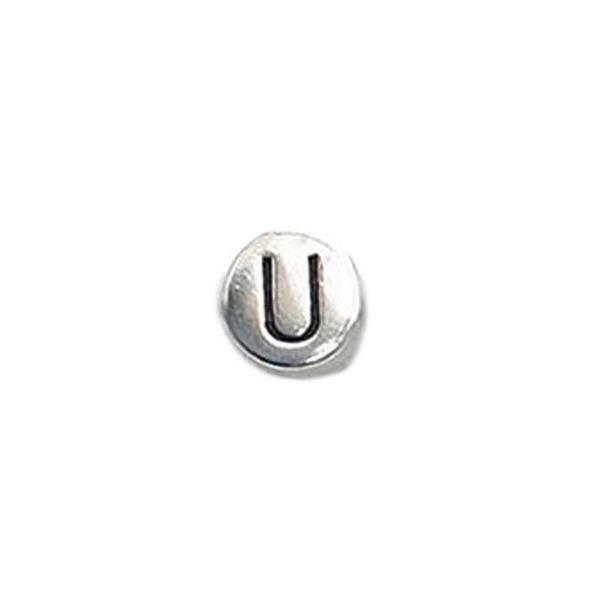 Metalen letterkraal - oud platina, U