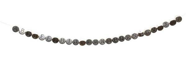 Metallperle Buchstabe, altplatin, V