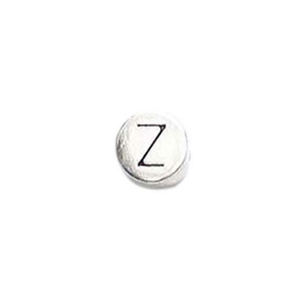 Metalen letterkraal - oud platina, Z