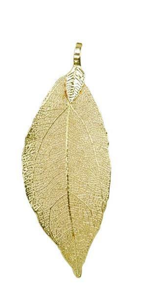 Anhänger Blatt - fein, ca. 60 x 30 mm, gold