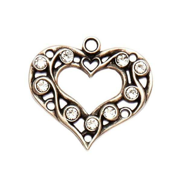 Hanger klederdracht hart, oudzilver-kristal