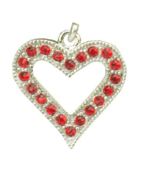 Pendentif cœur platine rouge, coloris platine