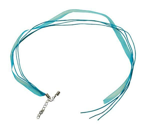 Collier - Ouvert sur 1 côté, 50 cm, turquoise
