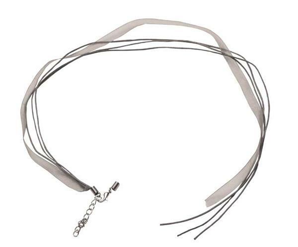 Collier - aan één zijde open, 50 cm, grijs