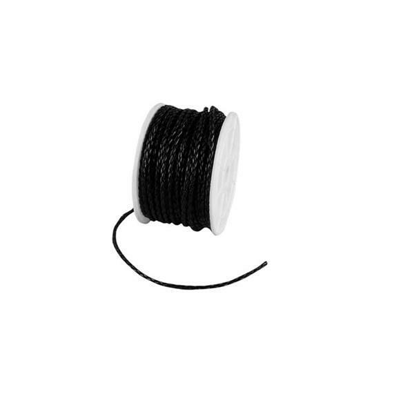 Lederen veter gevlochten - Ø 3 mm, 25 m, zwart