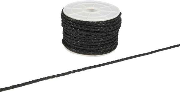 Lanière cuir tressée - Ø 3 mm, 25 m, noir