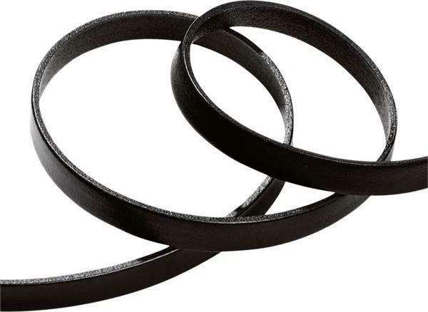 Lederen bandje plat - 10 mm, 80 cm, zwart