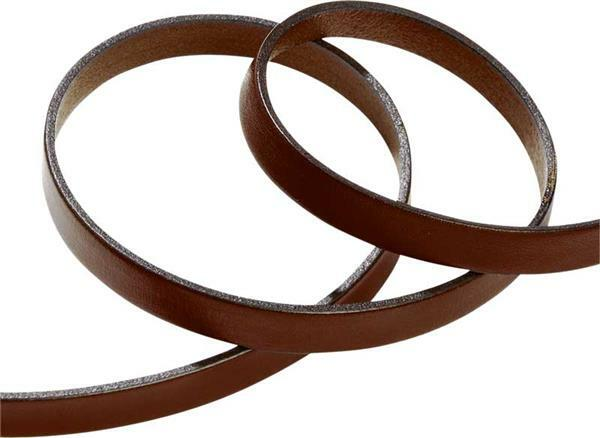 Lanière de cuir plate - 10 mm, 80 cm, brun
