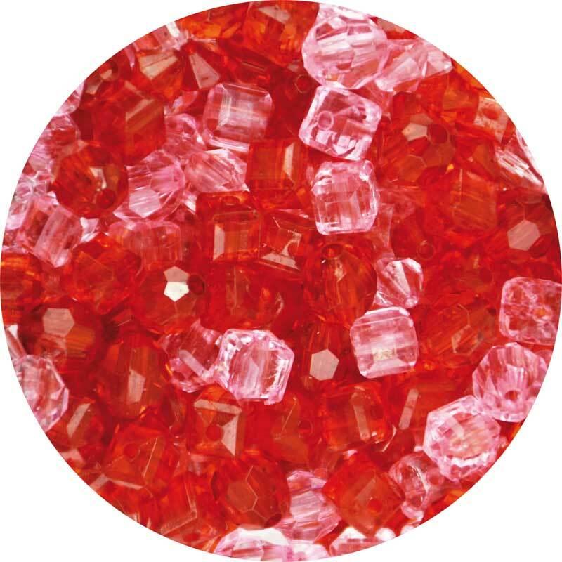 Mélange perles acryliques-env.400 pces, rouge-rose