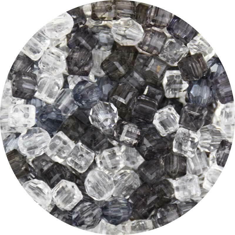 Acrylperlen Mix - ca. 400 Stk., schwarz-weiß