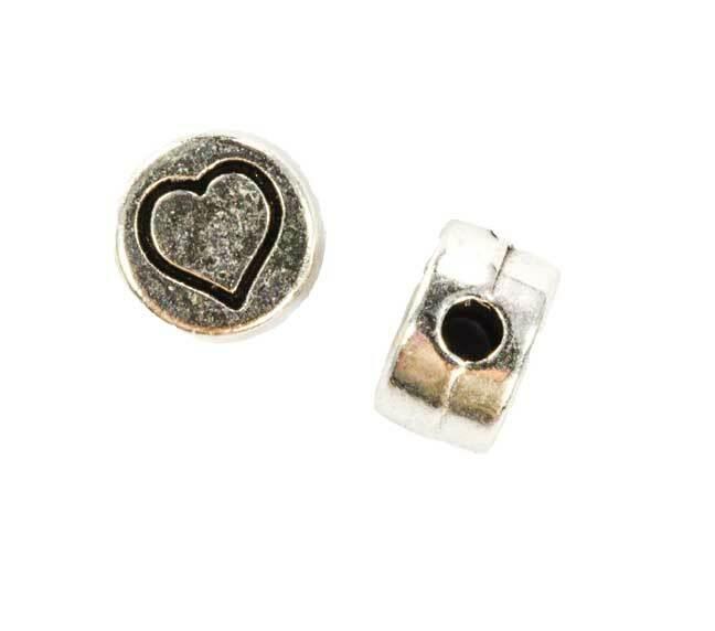 Perles métal - vieux platine, cœur