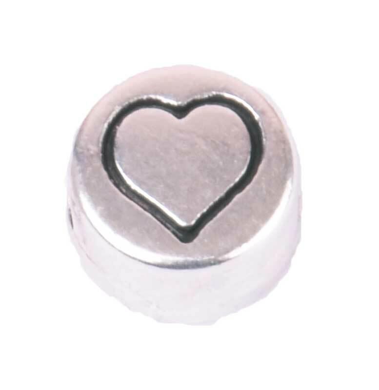 Metalen kraal - oud platina, hart