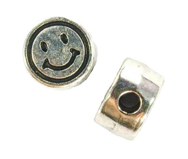 Perles métal - vieux platine, Smiley