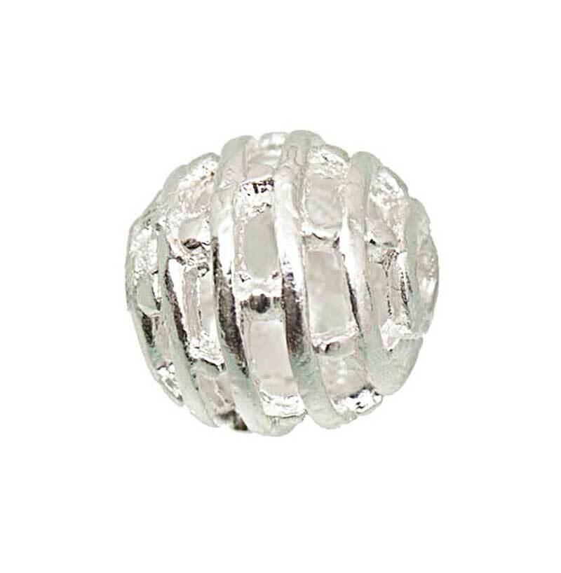 Perles métal bille - 6 pces, argent